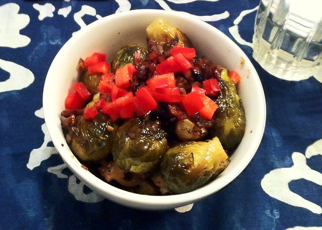 Roasted brussel sprouts with Canadian bacon