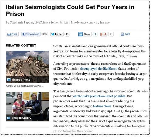 ITALIA - EMERGENZA & TERREMOTO SISMA L'AQUILA: I sismologi italiani potrebbero avere quattro anni di carcere. YAHOO.NEWS / USA (27/09/2012). by Martin G. Conde