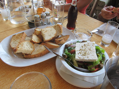 Toasts with Oil and Oregano and Greek Salad