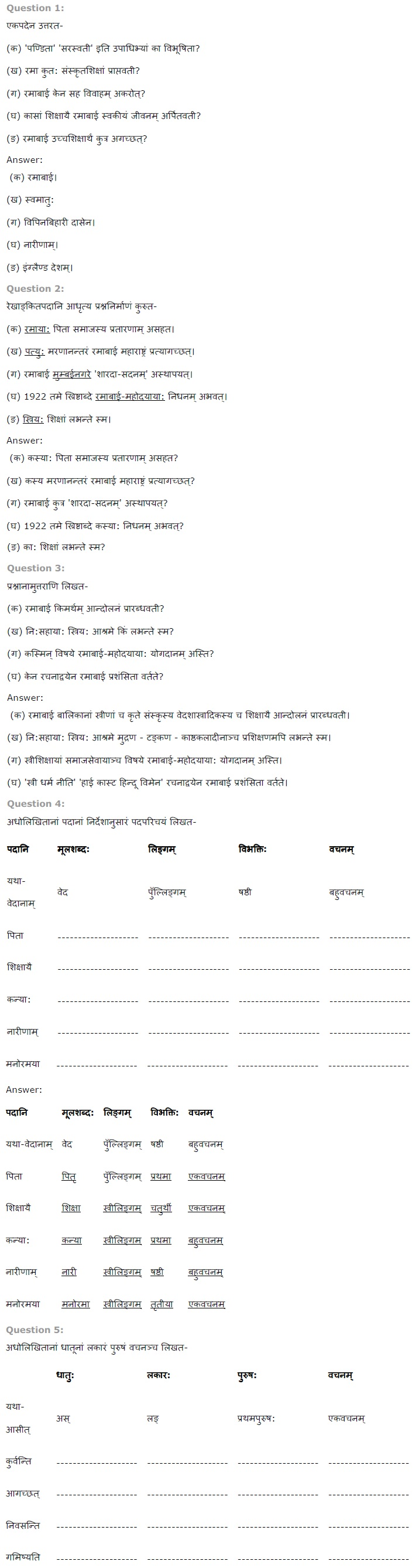 NCERT Solutions For Class 7th Sanskrit Chapter 5 पण्डिता रमाबाई PDF Download