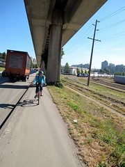 Narrow SkyTrain Bike Path