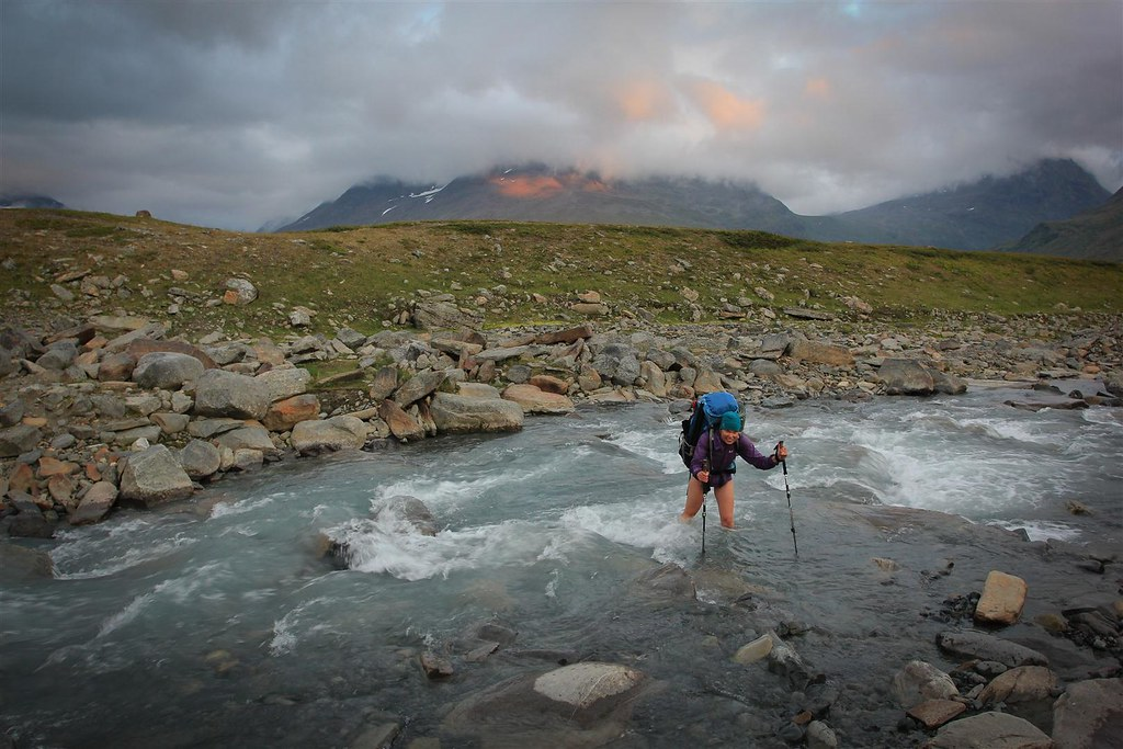 An evening bath in Sarek NP, Laponia, Sweden