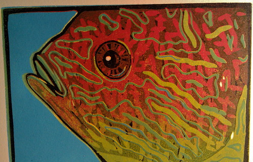 Pescado del Sol, 5x7 reduction linocut by Goyo P