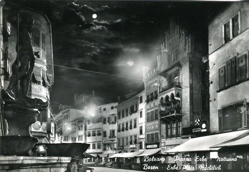 postcard - bolzano - notturno - piazza delle erbe - 1965