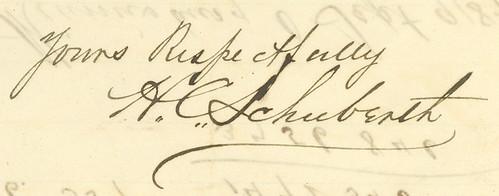 Henry C. Schuberth's signature, 1887