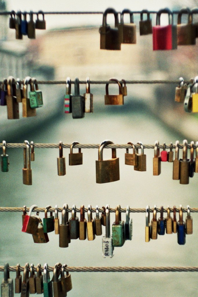 After locking the love padlock onto the fence, the lovers tossed the keys into the river – a sign of their eternal love.