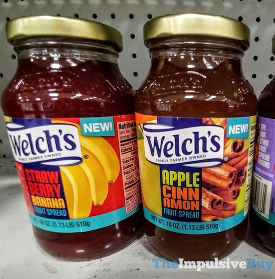 Welch's Strawberry Banana and Apple Cinnamon Fruit Spreads