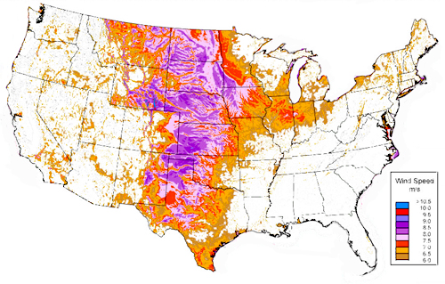 US Wind Resources, Power Class 3 or above