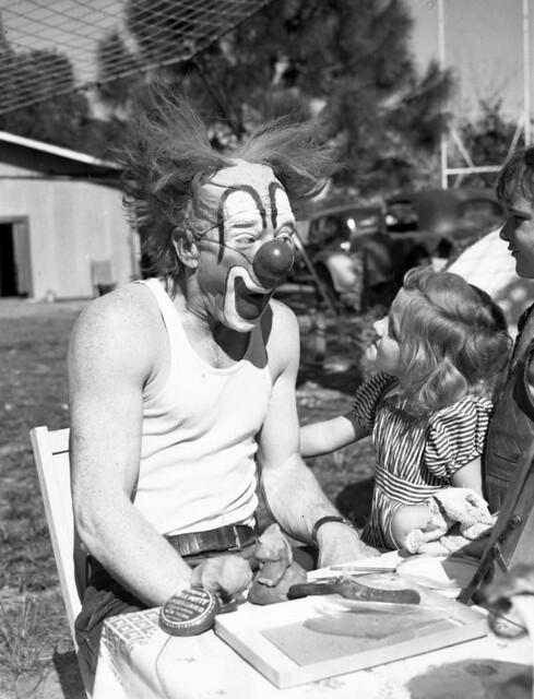 Ringling Circus clown Lou Jacobs with Carla Wallenda: Sarasota, Florida