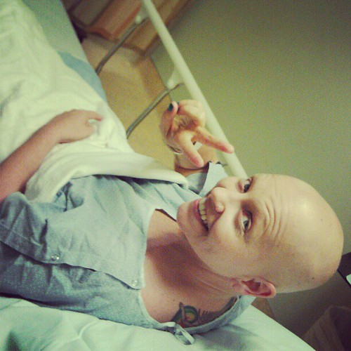 in pre-op, see ya on the flip side #breastcancer #peace #prayers #stjosephs