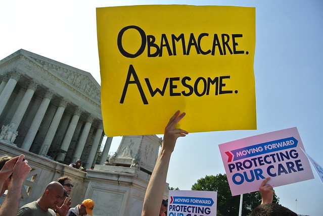 Obamacare on the steps of the Supreme Court