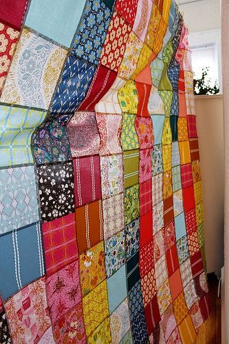 voile quilt top from behind