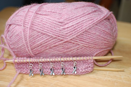 Knit for a Cure Breast Cancer Awareness Stitch Markers