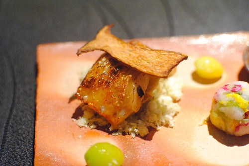 Autumn Colors on a Plate: Grilled Thorn Head Fish, Eggplant, Chestnuts, Ginkgo Nuts