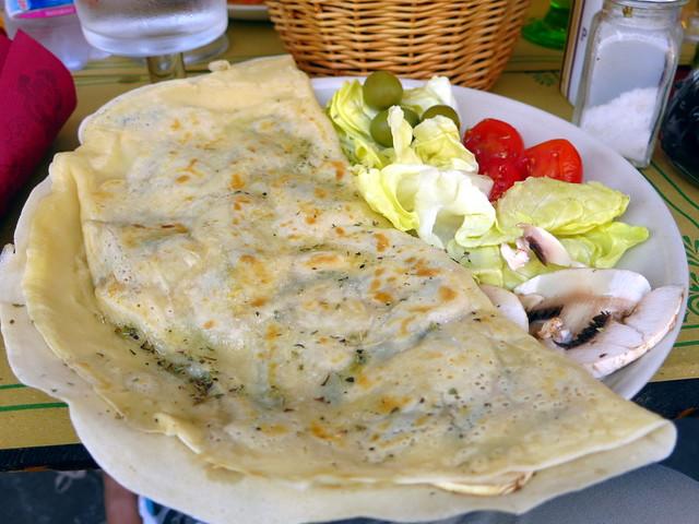 crepe with mushroom, grana padano cheese & walnuts €7.50