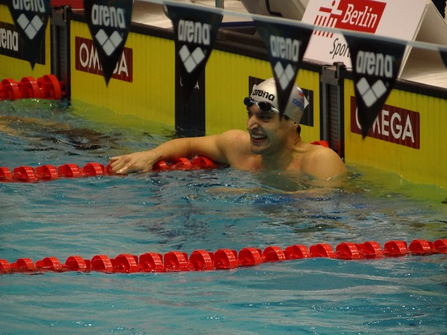 Donets after winning the Berlin 2012 men's 100 back