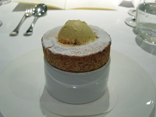 Plum Soufflé with Almond Ice Cream
