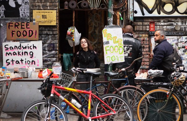 Free Food stand in New York City during the Hurricane Sandy Blackout