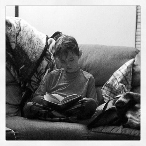 My son reading #IMHx2 #motography2012