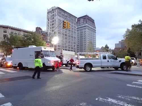 Union Square with Con ed trucks