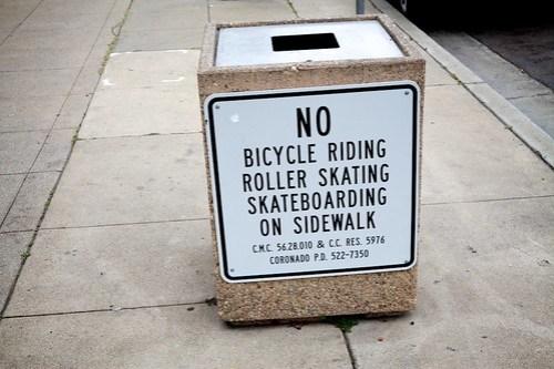 No Bike or Skate On Sidewalk Signage Example - Coronado CA