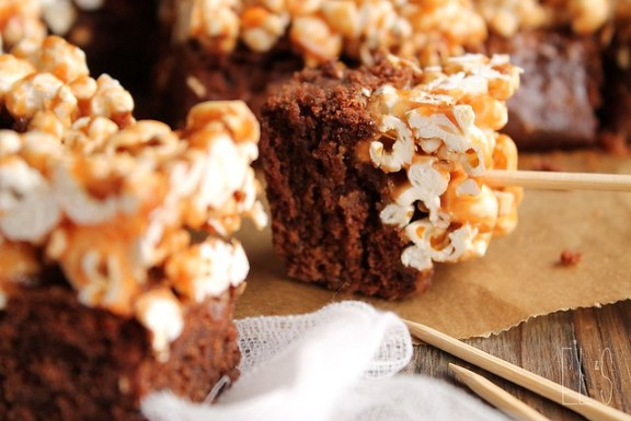 Salted caramel popcorn and brownie