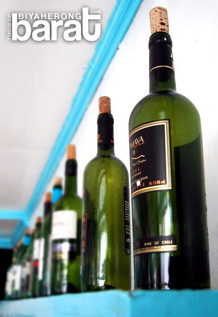 wine bottles in Manos Greek Taverna Tagaytay City Cavite