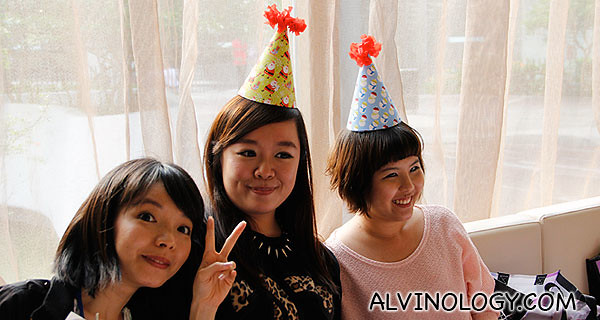 Bloggers Tiffany, Michelle and Yan Teng with their party hats