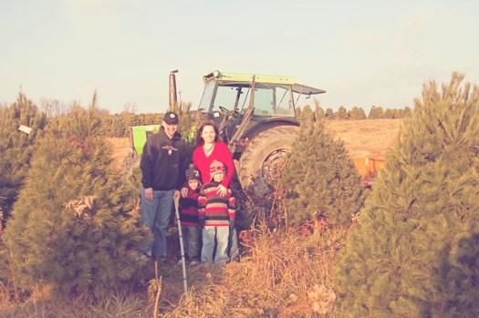 Family at the Tree Farm - Hazy