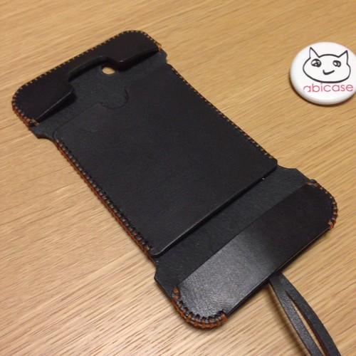 abicase iPhone 5 栃木レザー社 黒色サドルレザー ウォレットジャケット(フォルテモデル)
