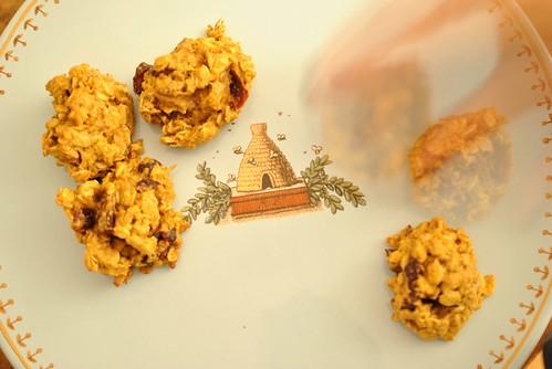 Oatmeal Pumpkin Cranberry Pecan Cookies - hand ghost