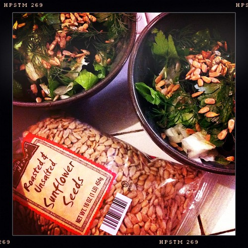 sunflower seeds on my salad