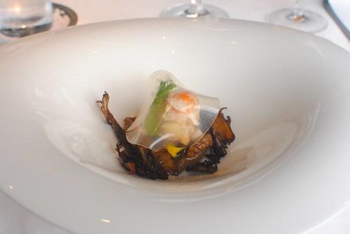 Taraba crab meat, wild mushrooms fricasse with autumn fruits, bouillon of sauternes
