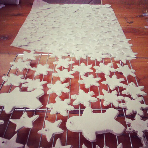 A paper clay production line, some for gifts, some for our tree.