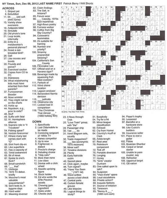 NYT Sunday Puzzle - December 9, 2012
