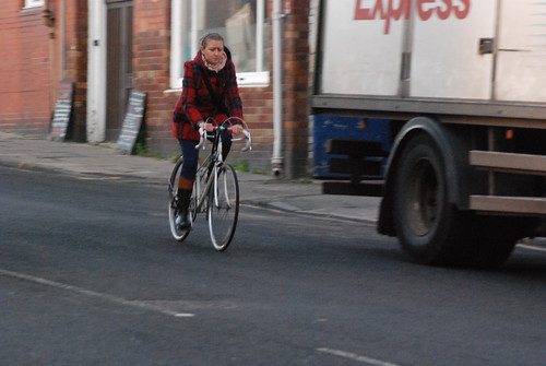 "Another happy cyclist on the ""Quality Bike Corridor"""