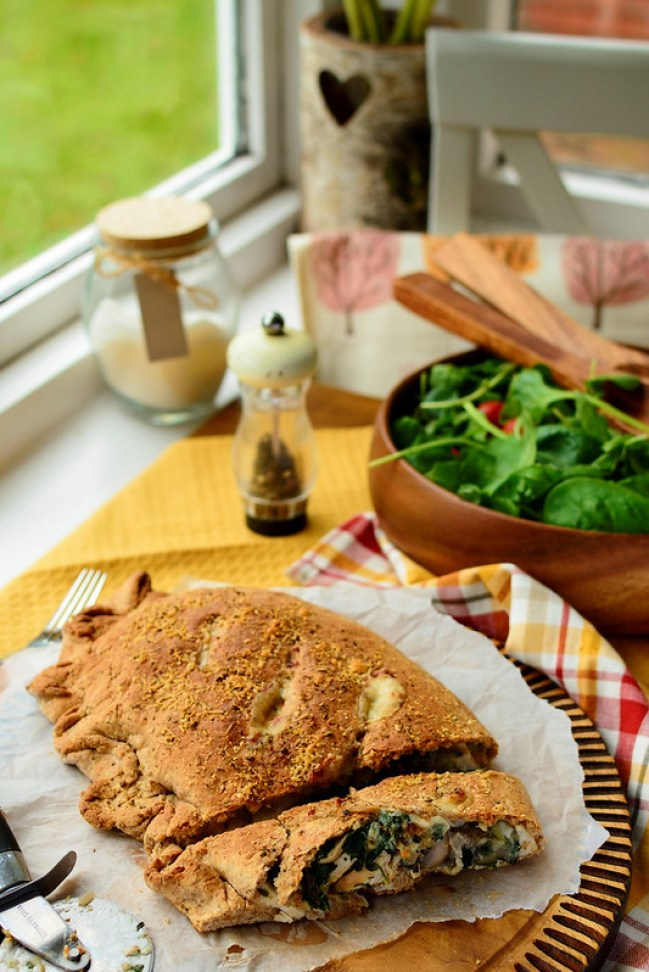 Wholemeal Chicken and Mushroom Calzone with Béchamel Sauce