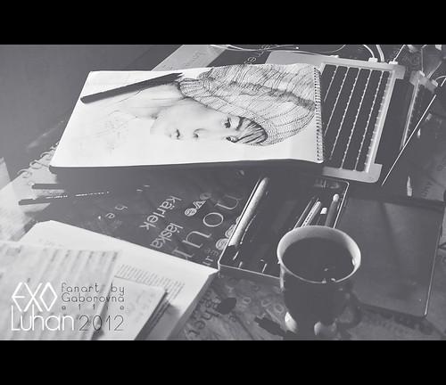luhan fanart snapshot on my desk