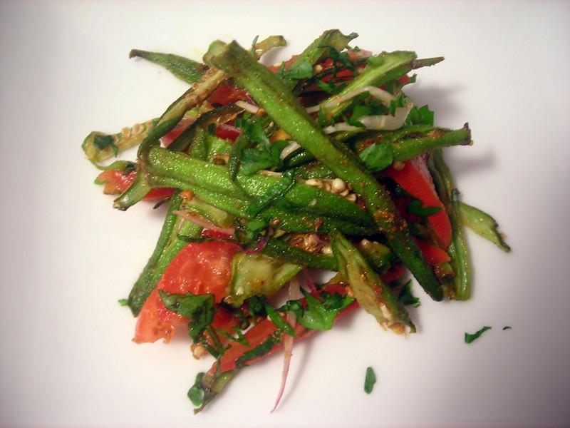 Suvir's crispy okra salad