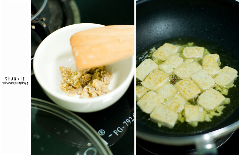 Minced meat, garlic and frying tofu
