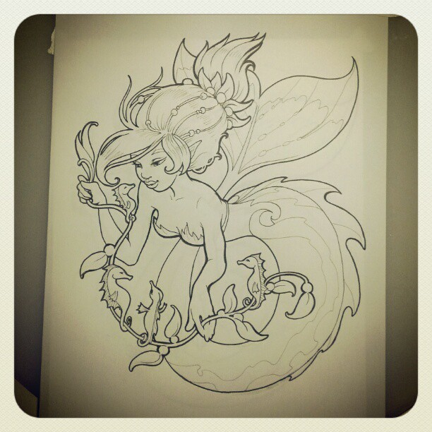 Final inking for #merkingdom coloring book #seahorse