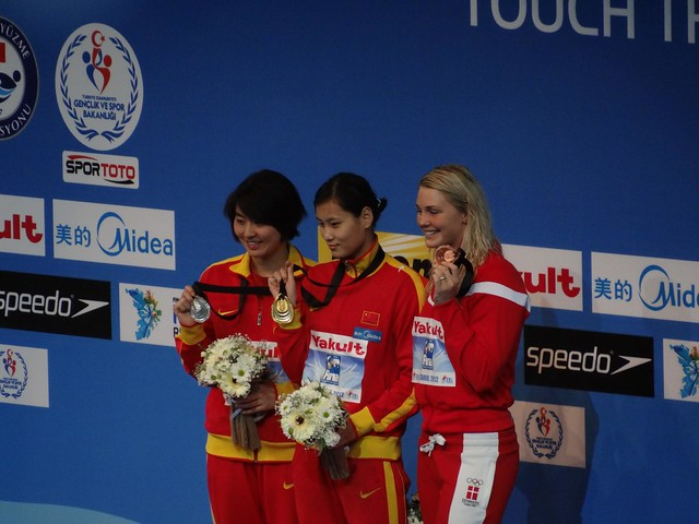 The Istanbul 2012 women's 50 fly medal podium