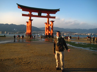 Xesc next to the floating tori of Miyajima