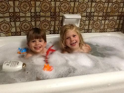 Kids in bath