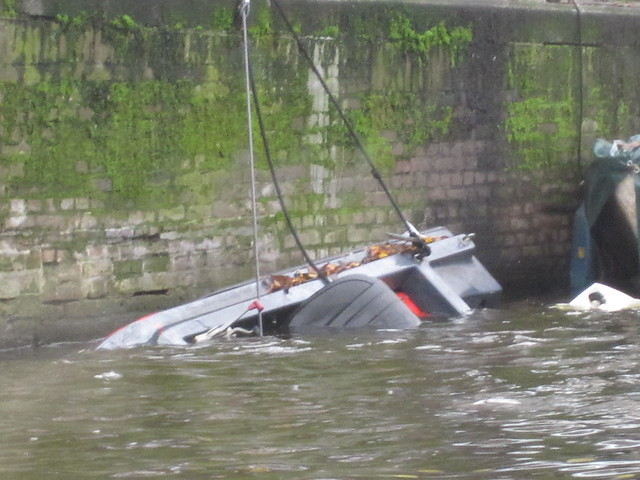 overturned boat in Amsterdam