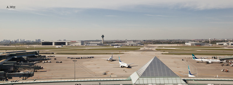 Panorama of Toronto Pearson from the Room
