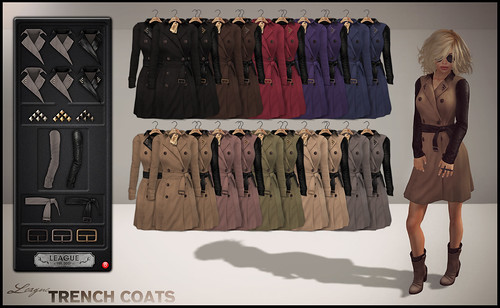 *League* Trench Coats Second Life Fashion