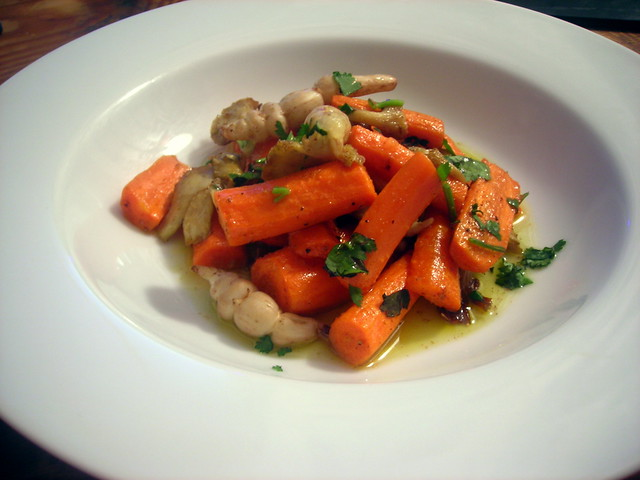 Roasted carrot, oyster mushroom and crosnes salad