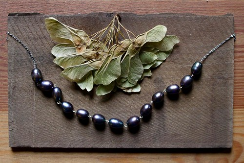 dark gray pearls on a silver chain @ metal and thread by denise carbonell