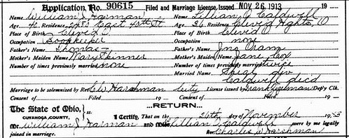 Lillian-Harman Marriage License